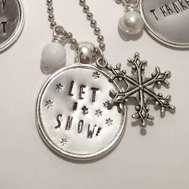 Let it Snow Hand Stamped Necklace