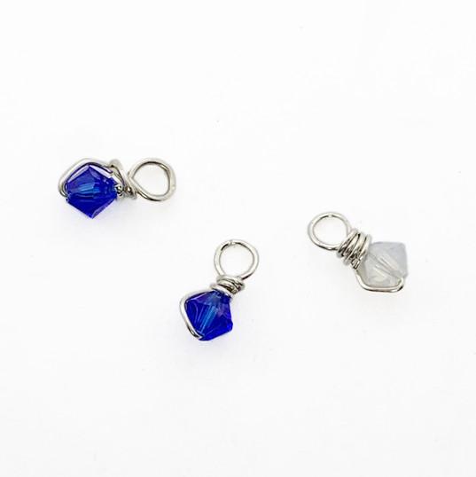 Blue & White Swarovski crystals