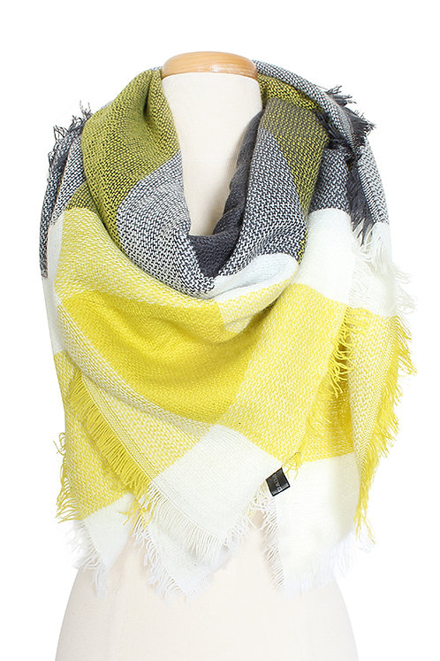 Plaid Blanket Scarf Yellow and Gray