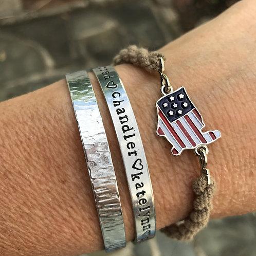American Flag USA Military Boot Band Bracelet