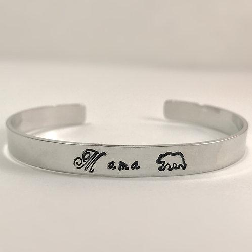 Mama Bear Silver Cuff Bracelet
