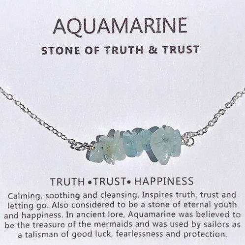 Aquamarine Bar Necklace