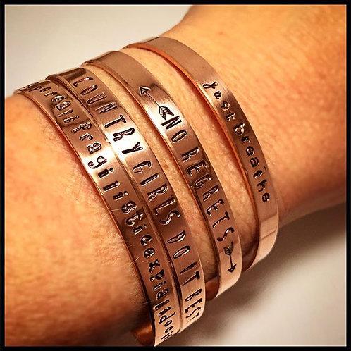 Copper Cuff Bracelet, Custom Stamping
