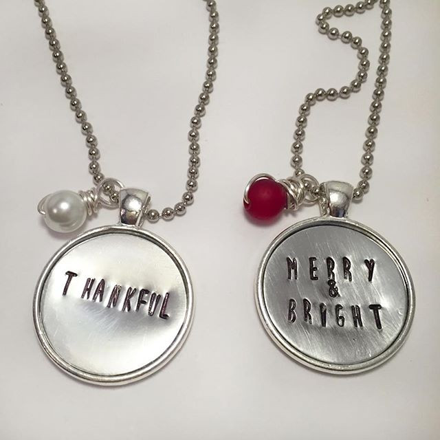 Thankful or Merry & Bright Hand Stamped Necklace