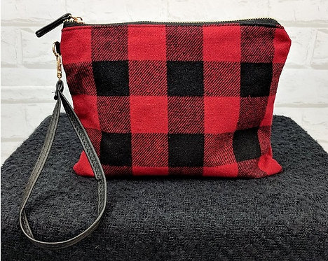 Buffalo plaid zipper clutch