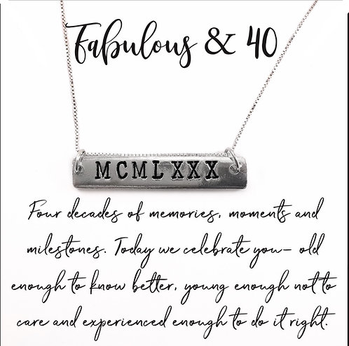 Roman Numeral 40th Birthday Necklace