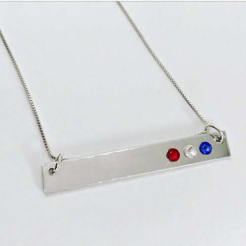 Red White and Blue Bar Necklace