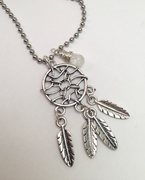 Dream Catcher Necklace with Moonstone Pendant