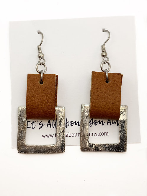 Leather and Silver Square Earrings