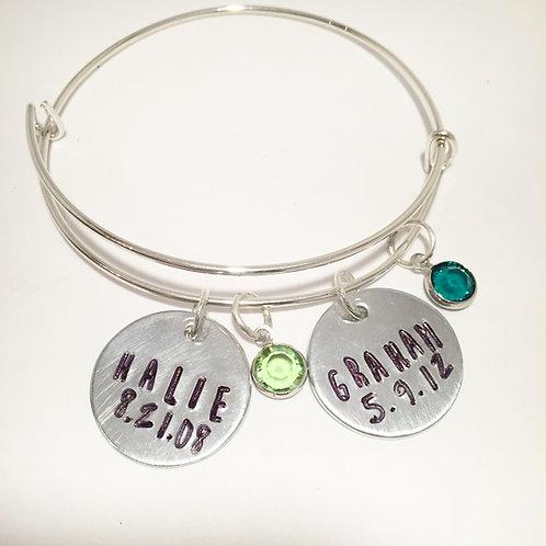 Mother's Custom Bracelet with Birthstone Charm