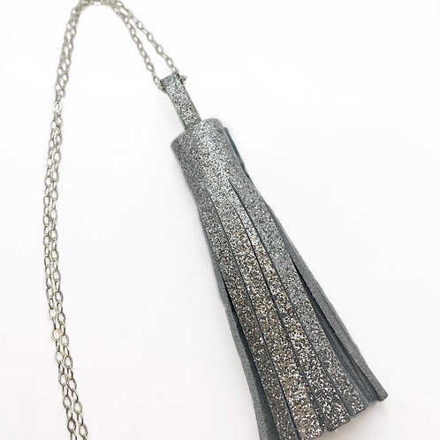 Disco Leather Tassel Necklace