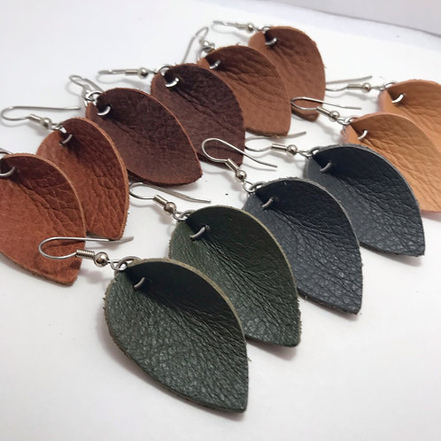Leather Earrings Leaf Style Small