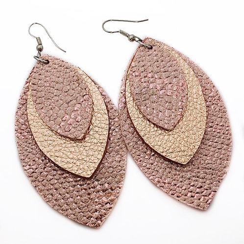 Rose gold snake skin earrings