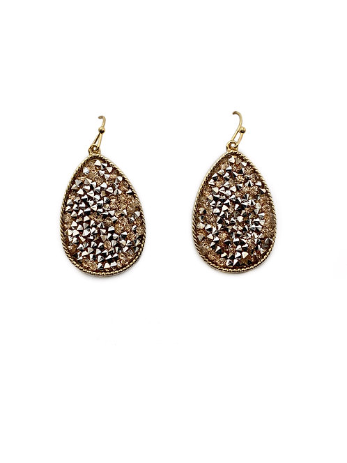 Gold Druzy Teardrop Earrings