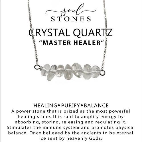 Crystal Quartz Bar Necklace