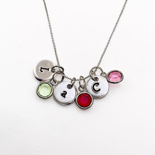 Birthstone Initial Pendant Necklace
