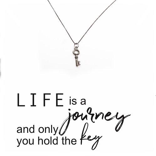 Life Is A Journey Necklace, Tiny Key Necklace