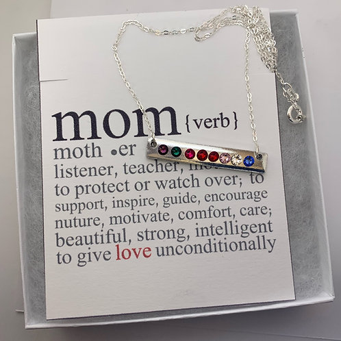 Birthstone Horizontal Bar Necklace