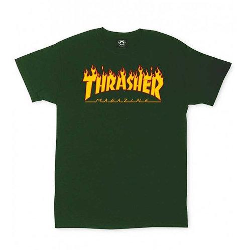"CAMISETA THRASHER ""FLAME LOGO"" VERDE"