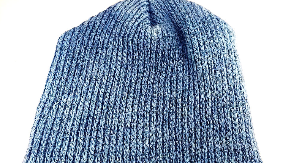 Shepherds' Hat: Knitted Wool, Natural Blue Saxon Indigo, One Size Fits Most.