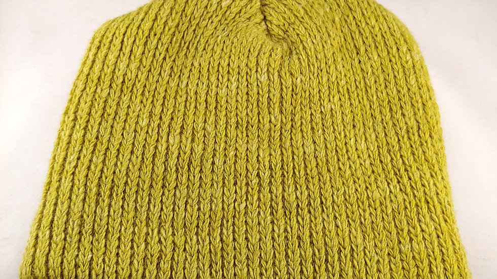 Shepherds' Hat: Knitted Wool, Natural Goldenrod Yellow Green, One Size Fits Most