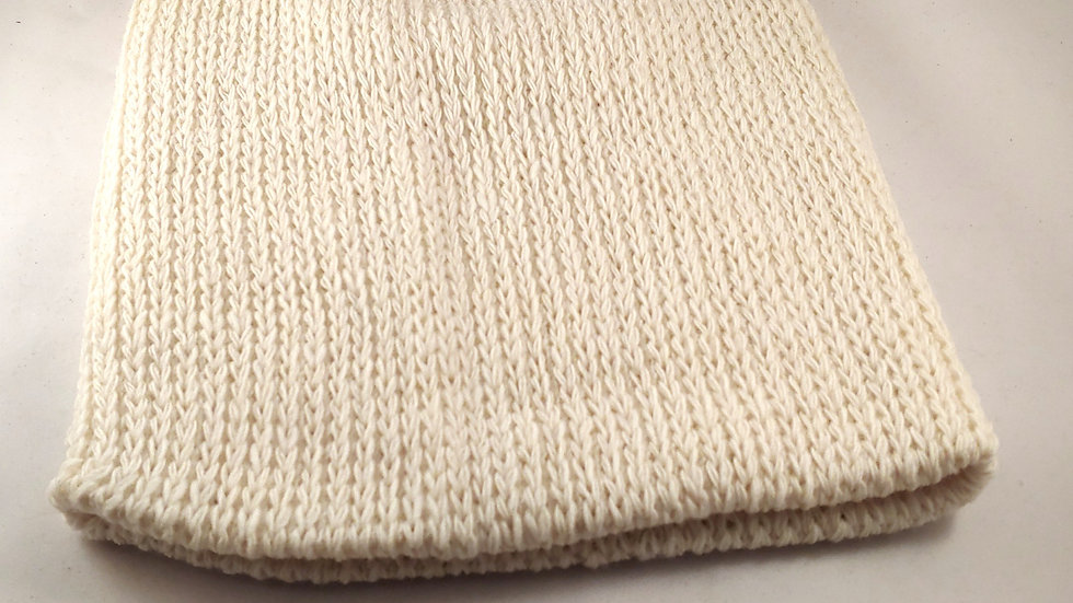 Shepherds' Hat: Knitted Wool Natural White/Cream, One Size Fits Most.