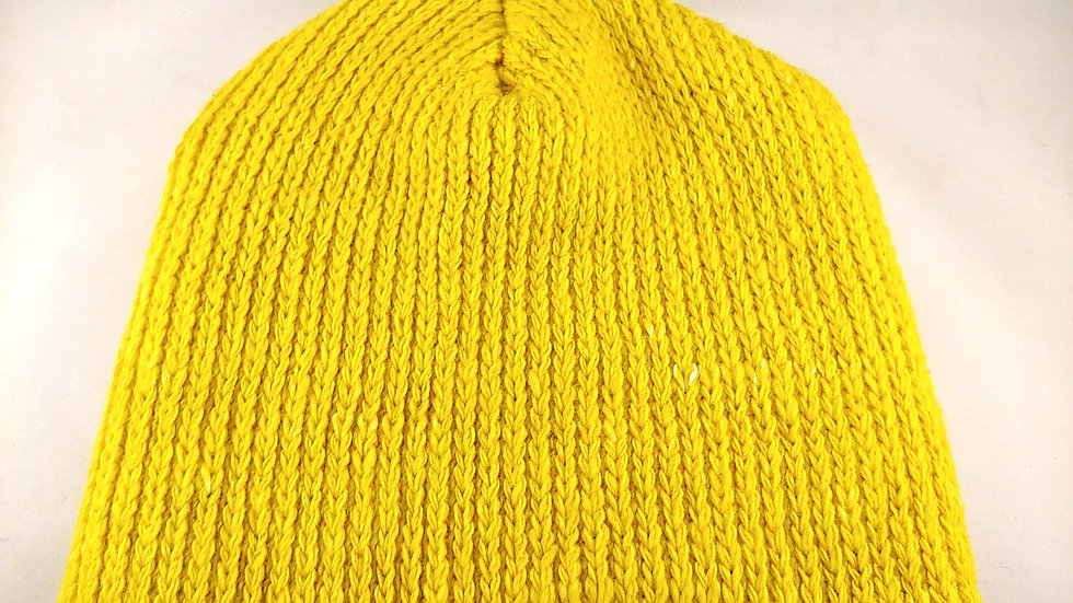 Shepherds' Hat: Knitted Wool, Natural Weld Yellow, One Size Fits Most.