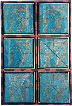 """Relief print on kozo paper, machines stitch, frame structure in bookbinding board.  11"""" height x 8"""" width x 2"""" depth  2019"""