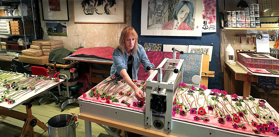 Artist, PD Packard in her studio.