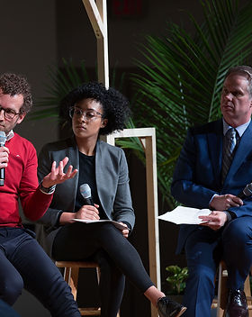 On March 9, 2019, two panel discussions take place in the PMC Youth Chapel at Andrews University. The hosts for the panels are Tacyana Nixon and Ty Gibson (right). One of the panelists, Dr. Torben Bergland (center), psychiatrist and psychotherapist, and associate director of Health Ministries at the General Conference, answers a question during the first session. Photo by Jessica Condon