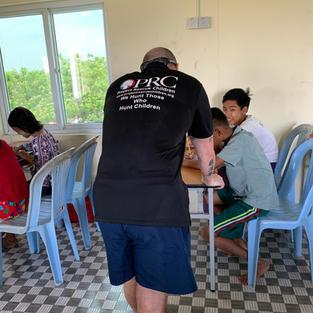 Teaching children in Myanmar