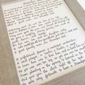 Hand Lettered Grandpa Jack Poem by Lette