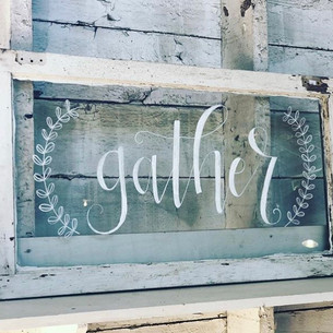 Hand Lettered Vintage Gather Window Deco