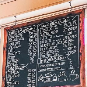 Custom Hand Lettered Big Cats Cafe Chalk