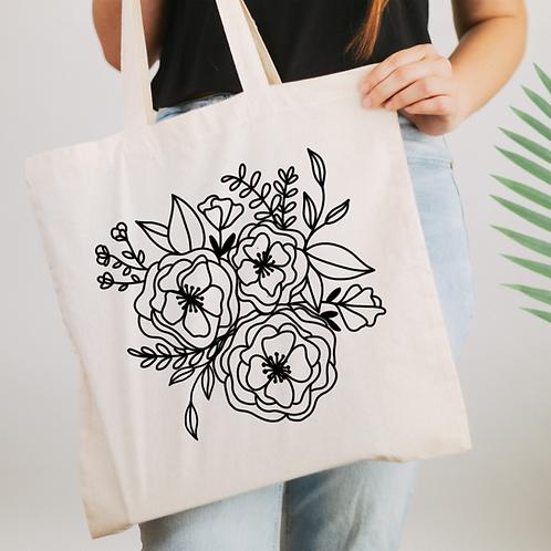 Flower Doodle Illustration Tote Bag