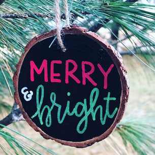 Hand Lettered Merry and Bright Wood Slic