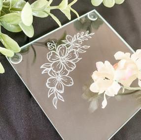 Hand Engraved Flower Illustration Glass