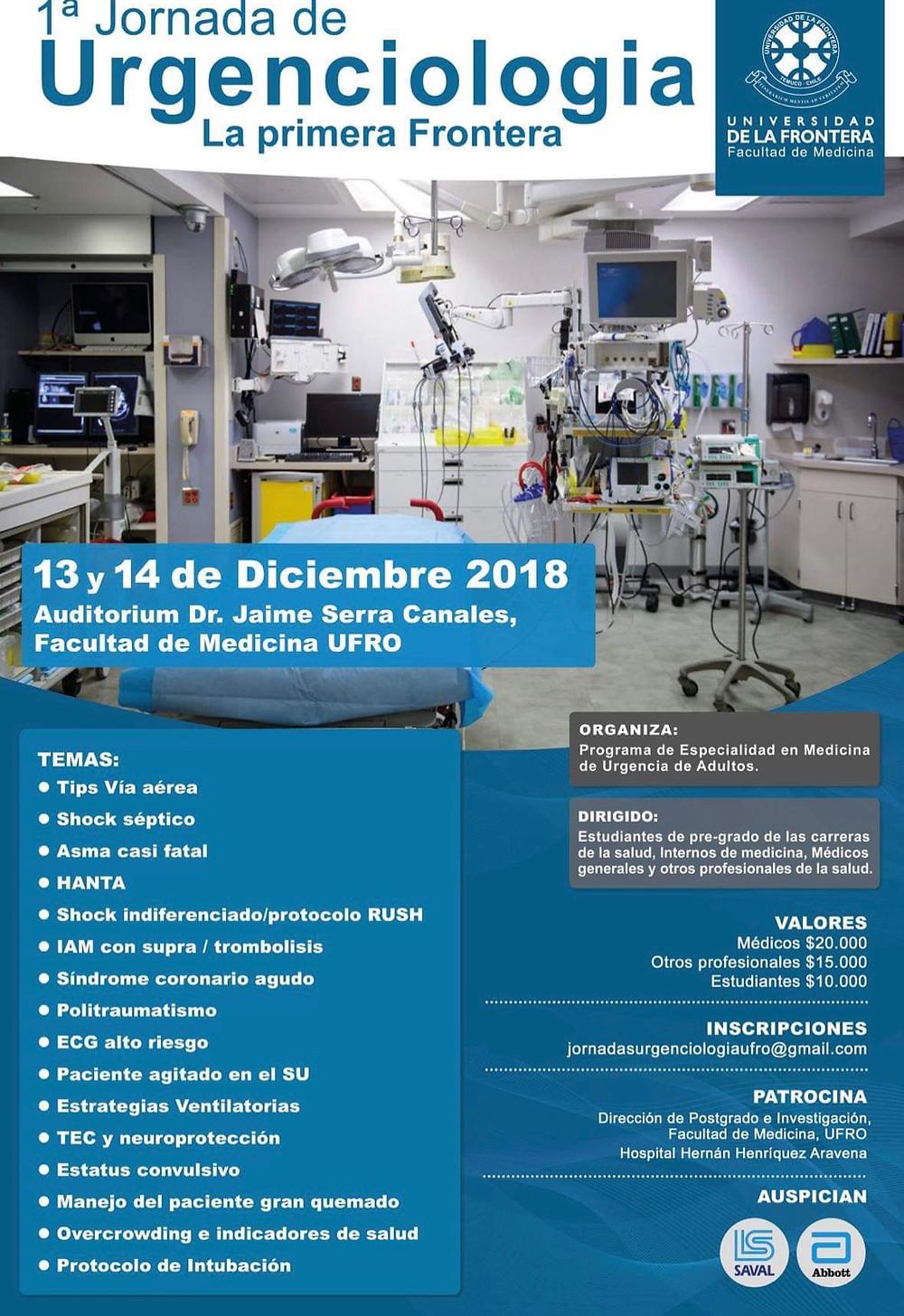 Afiche 1a Jornada de Urgenciología: La primera frontera