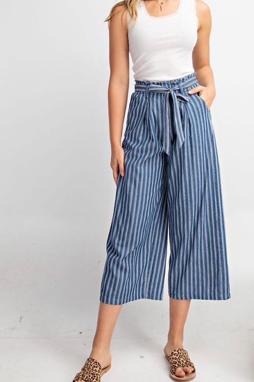 SALLY STRIPED CROPPED PANTS