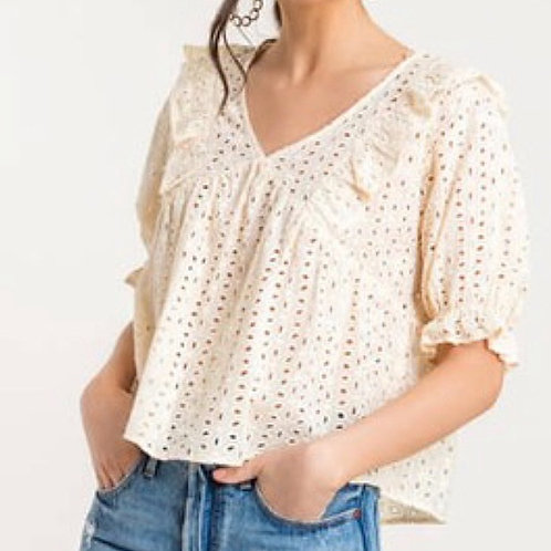 ALL NATURAL EYELET BLOUSE