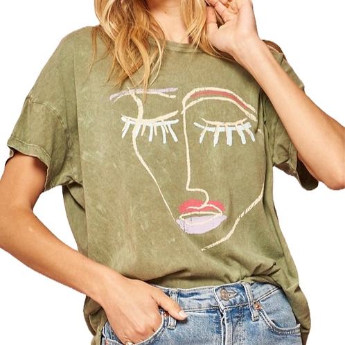 Olive Abstract Face Tee