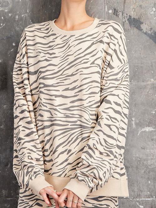 Zebra Print Sweatshirt