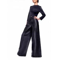 9-1_深藍 水top + 超長寬褲