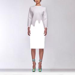 8-2 _女 白 水top + 白反光窄裙