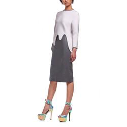 8-3 _女 白 水top + 白反光窄裙