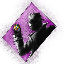Spider-Man Noire. Rubix Cube. Tattoo design.