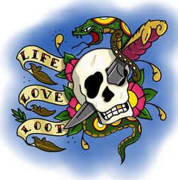 Skull and knife