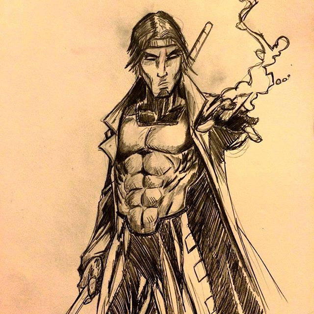 #Marvel #Gambit #linework #drawing #sketch #pencil #xmen #mflee #mfleecas #tattoo #ballin