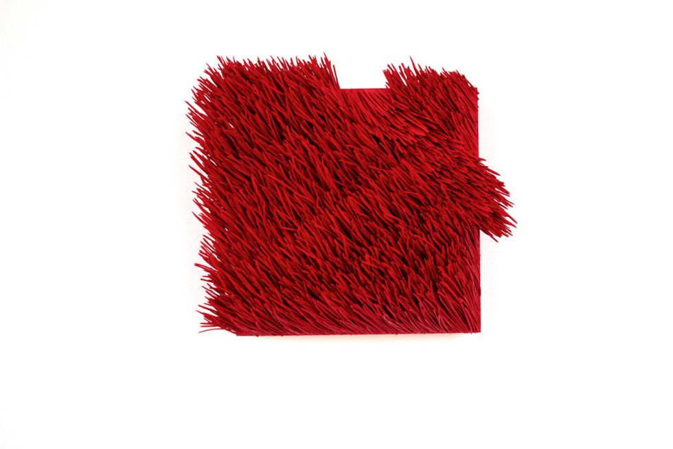 "Christian Bernard Singer Red II, No. 21, 2016 Pine needles, paint and pigment on wood base 8"" x 7"" x 3.5"""