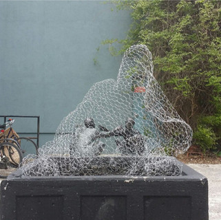 Mounded Veils, 2015 Installation for the courtyard shared by the Edward Day Gallery and the Museum of Contemporary Canadian Art (MOCCA) Chicken wire Dimensions variable